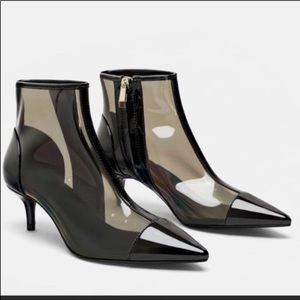 Zara vinyl clear pointy booties 2019